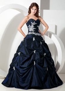 Navy Blue Sweetheart Appliques Pick-ups Decorate Dress for Quince