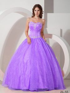 Lavender Sweetheart Appliques Accent Beading Dress for Quince