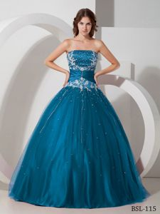 Most Popular Strapless Beading Sweet 15 Dresses with Appliques