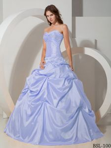 Sweetheart Taffeta Beading Bust Dress for Quince with Pick-ups