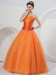 Orange Strapless Sequins Princess Sweet 15 Dresses Beading Waist