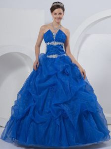 Royal Blue Pick-ups Hand Made Flowers Beading Dress for Quince