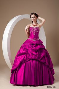 Elegant Fuchsia Sweetheart Pick-ups and Pleats Dress for Quince