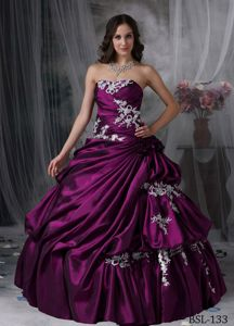 New Strapless Taffeta Appliques Sweet 15 Dresses with Pick-ups