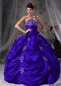 Roral Blue Strapless Beading Appliques Pick-ups Dress for Quince