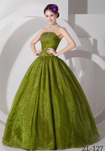 Ruches and Pleats Accent Beading Strapless Quinceanera Dresses
