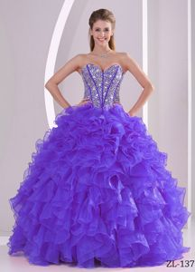 Ruffles Ball Gown Sweetheart Beaded Decorate Dress for Quince