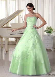 New Style Apple Green Sweetheart Beading Appliques Quince Dresses