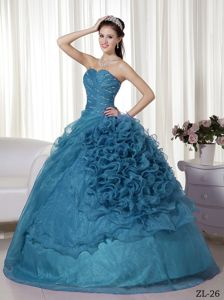 Beading Ruches and Ruffles Sweetheart Ball Gown Sweet 15 Dresses