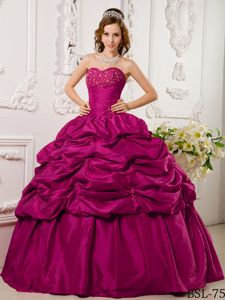 Pretty Sweetheart Floor-length Taffeta Dress for Quinceaneras