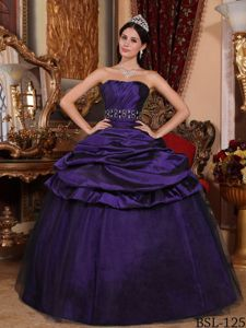Purple Taffeta and Tulle Beaded Dress for Quinceaneras