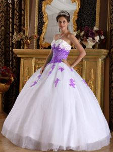 White and Purple Organza Appliques Dress for Quinceaneras