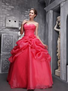 Coral Red Organza Dress for Quinceaneras with Ruches