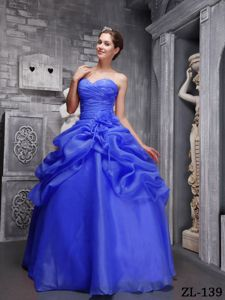Blue Pick-ups Organza Dress for Quince with Flowers