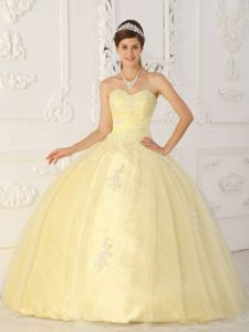 Light Yellow Sweetheart Taffeta and Organza Quince Dresses