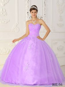 Lilac Taffeta and Organza Appliques Dress for Quinceaneras