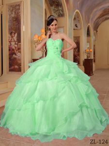 Apple Green Sweetheart Organza Sweet 15 Dresses with Beading