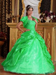 Green Taffeta Appliques Sweet 15 Dresses with Pic Ups