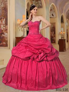 Red Ball Gown Taffeta Quinceanera Dresses with Pick Ups