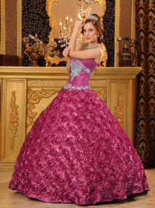 Discount Fuchsia Special Fabric Appliques Sweet 15 Dresses