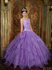 Lavender Strapless Ball Gown Organza Appliques Quince Dresses