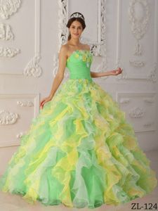 Multi Color Ruffled Organza Dress for Quince with Organza
