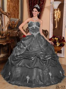 Dark Grey Floor-length Organza Appliques Sweet Sixteen Dresses