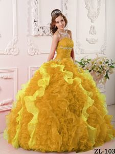 Gold Sweetheart Ruffled Organza Appliques Quinceanera Dresses
