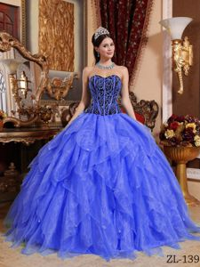 Popular Royal Blue Floor-length Organza Dresses for Quince