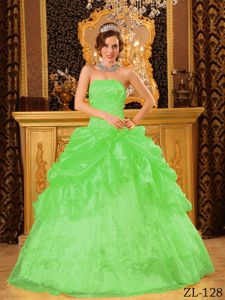 Green Strapless Organza Dress for Quinceanera with Appliques