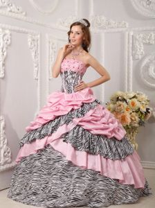 Pink and Zebra Strapless Tiered Taffeta Dress for Quince