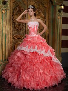 Watermelon Floor-length Ruffled Organza Dress for Quince