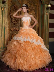 Orange Strapless Organza Quinceanera Dresses with Ruffles