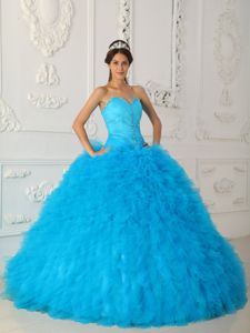 World Music Awards Blue Sweetheart Ball Gown Beaded Organza Quinceanera Dress