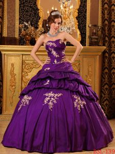 Discount Sweetheart Taffeta Dress for Quince with Appliques