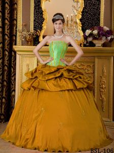 Two Toned Taffeta Dress for Quinceaneras with Pick Ups
