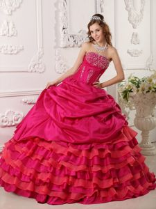 Beaded Floor-length Tiered Taffeta Dress for Quinceaneras