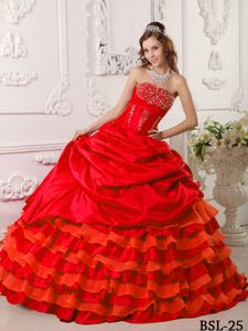 Red Strapless Layered Taffeta Beaded Quinceanera Dresses
