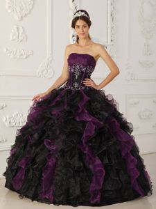 Purple and Black Organza Dress for Quince with Ruffles