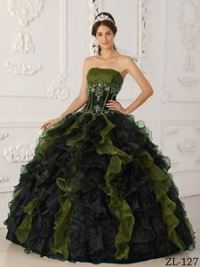 Olive and Black Ruffled Organza Dress for Quinceaneras