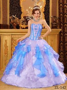 Two Toned Ruffled Ball Gown Organza Dress for Quinceaneras