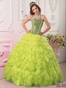 Lovely Yellow Green Beaded Dress for Quince with Ruffles