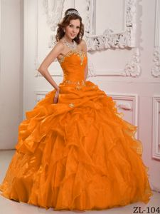 Orange Strapless Organza Floor-length Dress for Quince