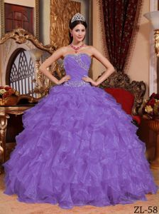 Popular Sweetheart Organza Dress for Quince with Ruffles