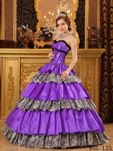 Purple and Leopard Taffeta Dress for Quince with Ruffles