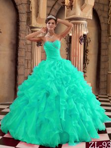 Turquoise Floor-length Ball Gown Ruffled Dress for Quince