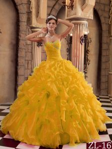 2013 Gold Sweet 15 Dresses with Ruffled Organza On Sale