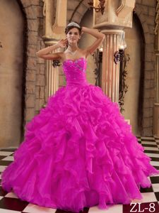 Cheap Hot Pink Ruched Organza Ruffed Dress for Quinceaneras