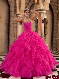 Attractive Red Beaded Ruffled Organza Dress for Quince