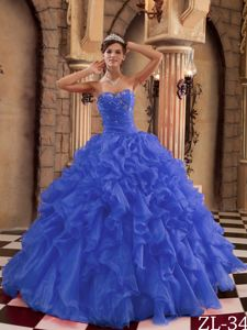 Discount Royal Blue Sweetheart Sweet 15 Dress with Ruffles